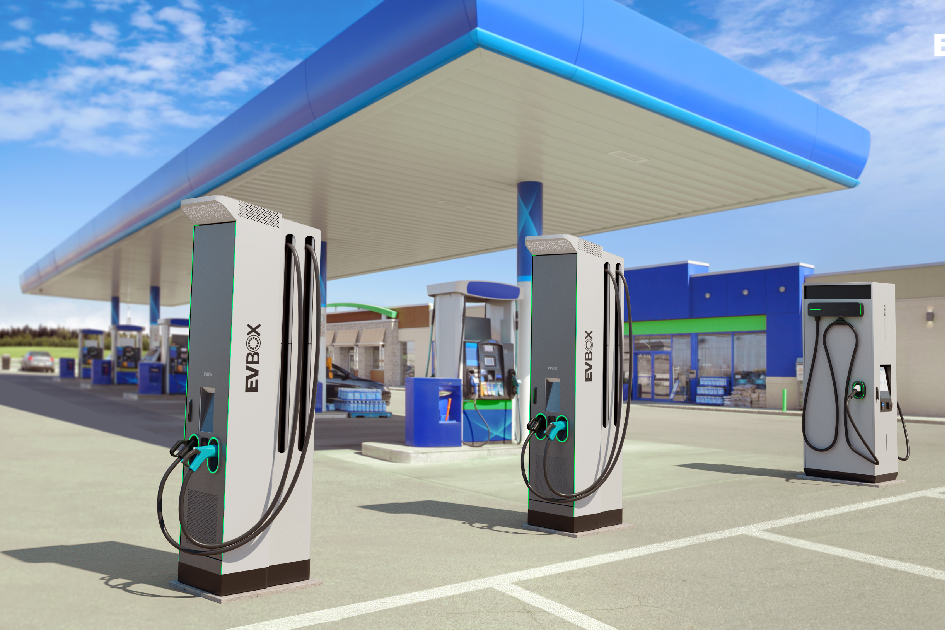 A modern gas station which offers EV charging.