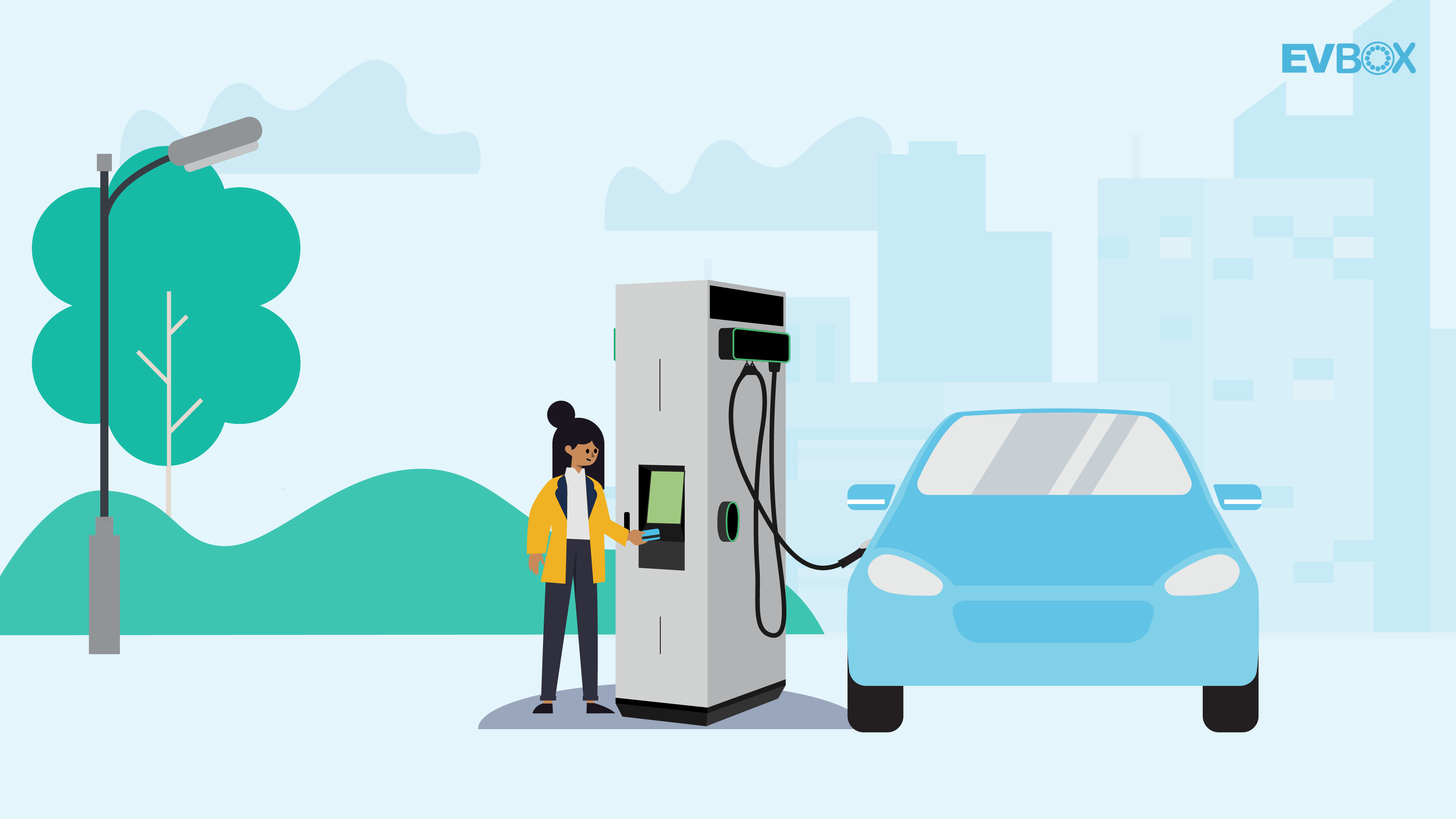 A visual of a woman paying for her EV charging session