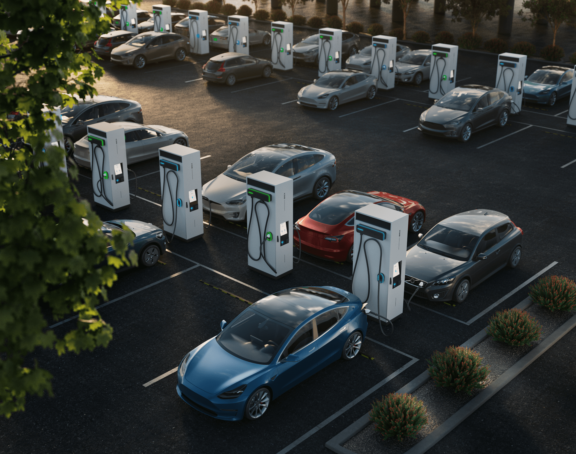 A parking lot filled with many electric vehicles charging from DC fast charging stations.