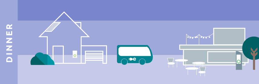 illustration minimal future sustainable transport electric bus