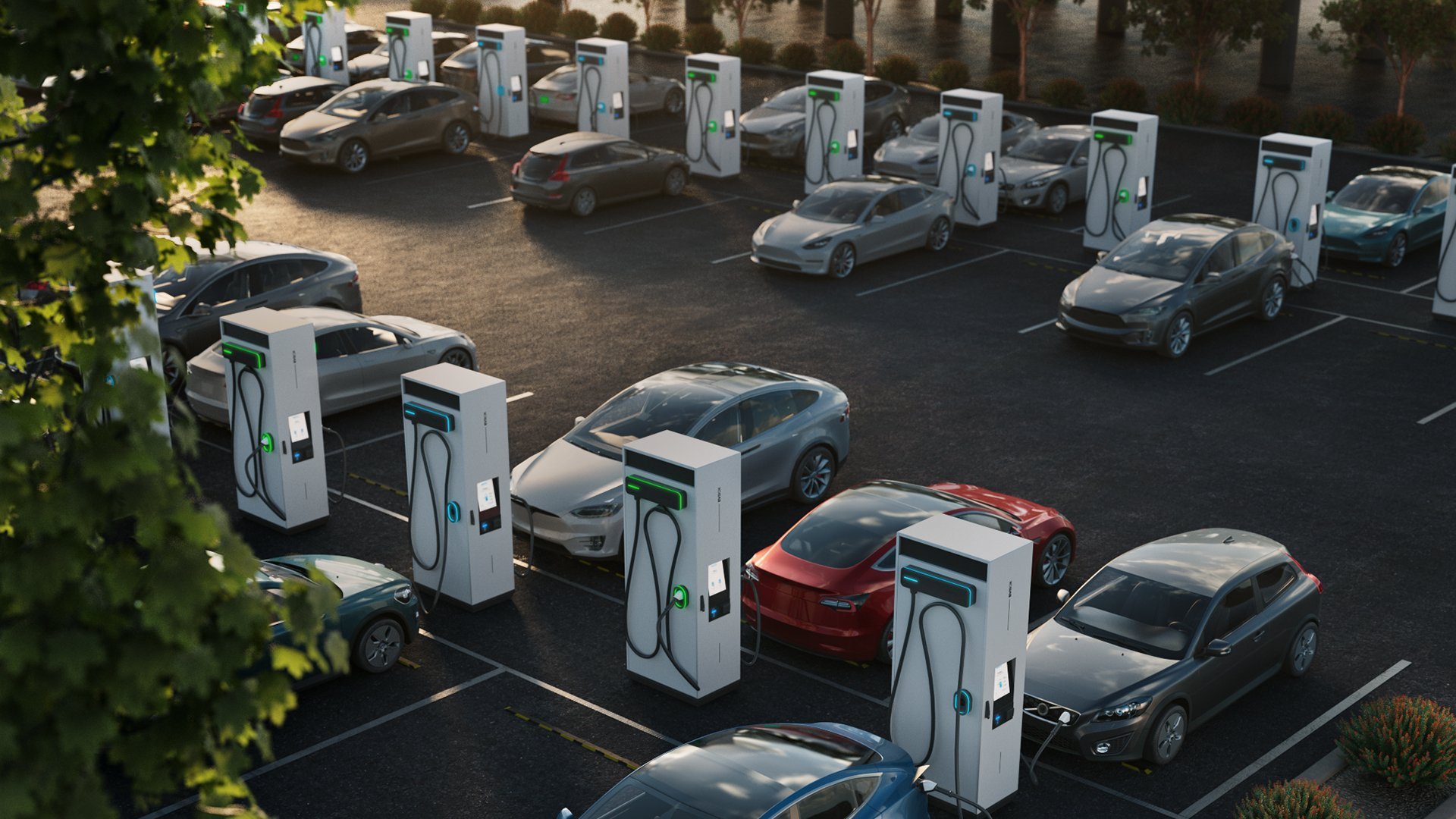A parking lot with dozens of cars plugged into EV charging stations signifying the rise of electric mobility.