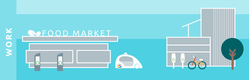 illustration minimal future sustainable transport self driving car