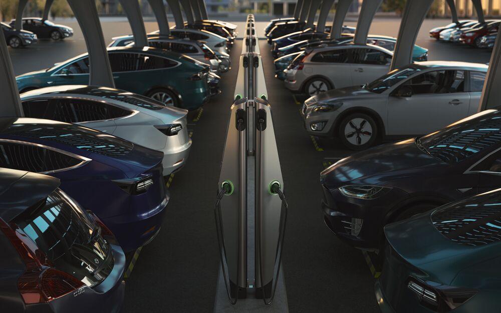 EVBox Iqon EV charging stations in carpark