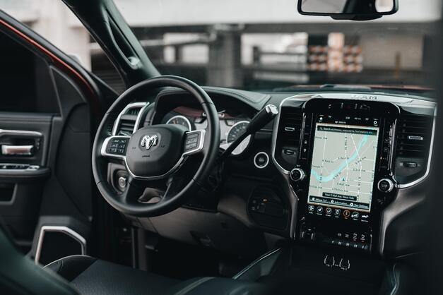The interior of a modern electric vehicle.